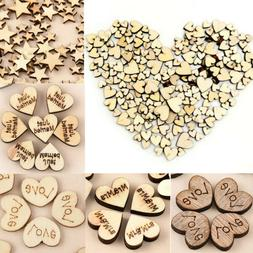 100pcs Rustic Wooden Love Heart Wedding Table Scatter Decora