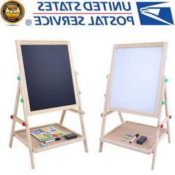 2-in-1 Double sided Wooden Black white Easel Chalk Adjustabl