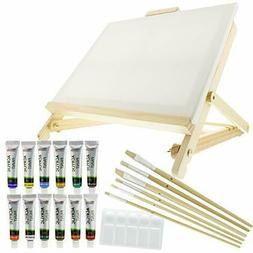 US Art Supply 21-Piece Acrylic Painting Table Easel Set with