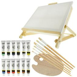 US Art Supply 21-Piece Oil Painting Set with Table Easel, Ca