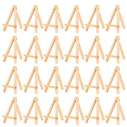 24 Pack Mini Table Top Natural Wood Tripod Display Easel Fol