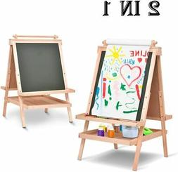 All In One Kid's Wooden Art Easel Double Side w/Paper Roll&A