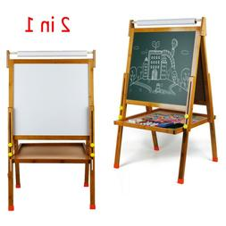 All In One Kids Bamboo Art Easel Double Side Lift w/Paper Ro