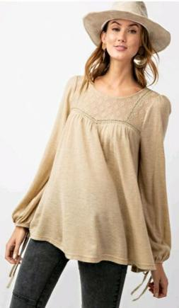 Easel Anthropologie Brushed Babydoll Tunic Blouse Top Taupe