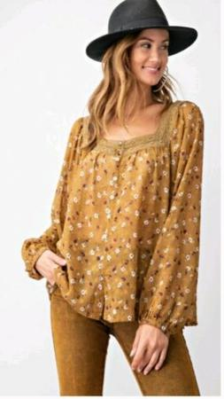 Easel Anthropologie Mustard Blouse Chiffon Fall Blouse Top L