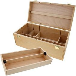 US Art Supply Artist Wood Pastel, Pen, Marker Storage Box wi