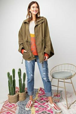 Easel Avery Oversized Cotton Twill Hooded Jacket