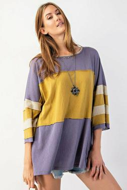 Easel Blue Grey COLOR BLOCK COTTON JERSEY BOXY KNIT TOP