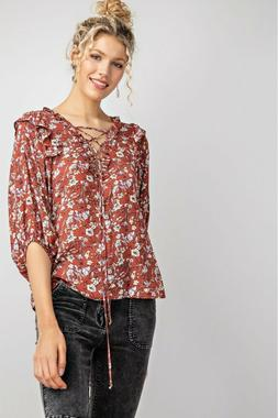 EASEL Cinnamon Floral Printed Lace-Up Ruffle Trim Top USA Bo