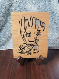 Custom Handcrafted Groot Youth Cherry Wood Plaque With Easel