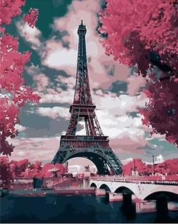 ABEUTY DIY Paint by Numbers for Adults Beginner - Red Eiffel