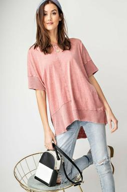 EASEL Dried Rose Mineral Washed Knit Tunic Top