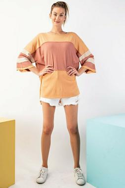 Easel Faded Coral  COLOR BLOCK COTTON JERSEY BOXY KNIT TOP