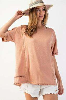 EASEL Faded Coral Crochet Detail Knit Top