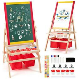 Flip-Over Double-Sided Kids Art Easel with Paper Roll Storag