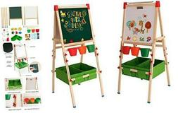 Kids Easel with Paper Roll Double-Sided Whiteboard & Chalkbo