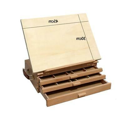 3 Layers Wooden Artist Table Top Drawing Easel Stand Folding