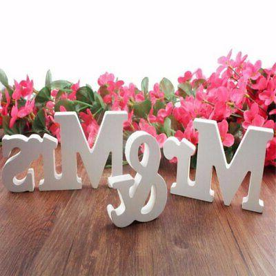 3Pcs/Set Wooden Mr and Mrs Letters Sign Standing Top Table W