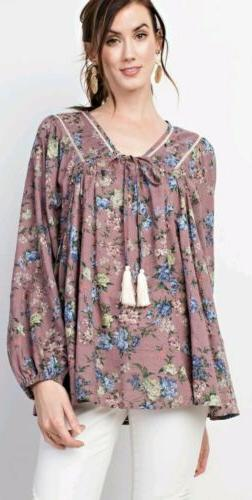 Easel Anthropologie Boho Peasant Blouse Top Mauve Floral S S
