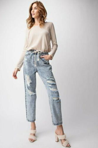 Easel Mom Jeans, Distressed, Daisy Elastic Large
