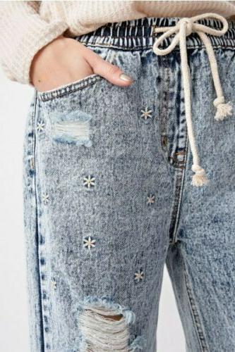 mom jeans distressed daisy embroidered elastic waistband