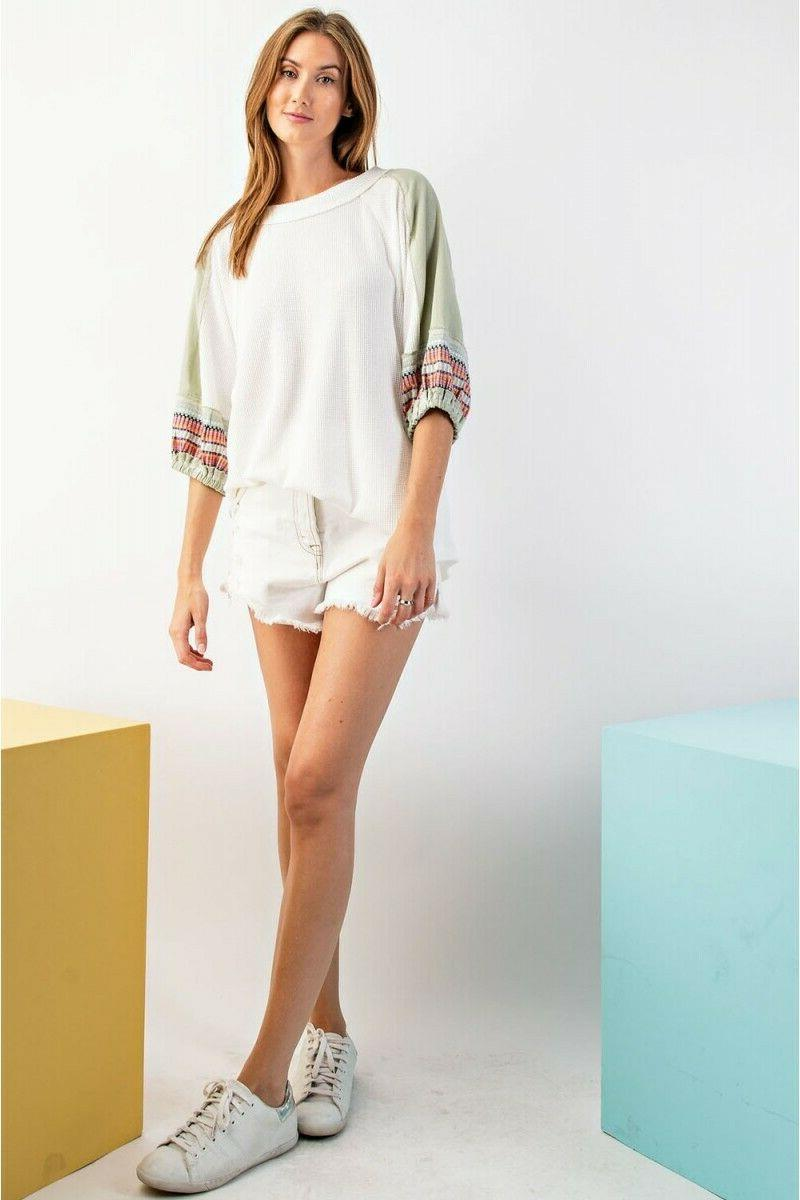EASEL Multicolor Embroidered Knit Tunic