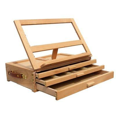 Portable 3-Layer Wooden Drawers Artist Table Top Easel Stand
