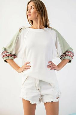 multicolor embroidered waffle knit tunic top