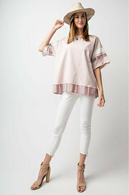 EASEL Multicolored Mixed Solid And Stripe Knit Tunic Top