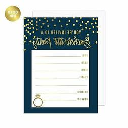Andaz Press Navy Blue and Metallic Gold Confetti Polka Dots
