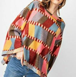 New Easel Top M Medium Color Block Hacci Knit Bell Sleeve Bo