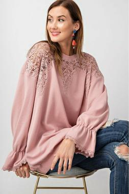 EASEL Rose Pink Crochet Detail Terry Knit Top USA Boutique