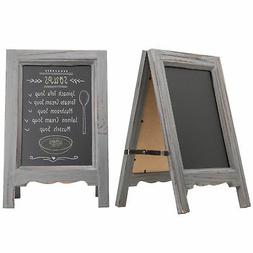 Set of 2 15-inch Tabletop Gray Wood A-Frame Double-Sided Cha