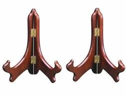 """Set of 2 ~ Rosewood Plate Display Easel Stand Holders 5"""""""