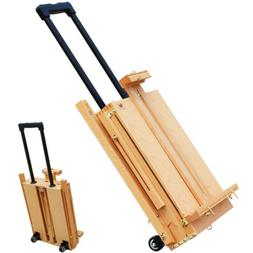 SFHX-3E Red Beech Portable Rolling Sketch Box Painting Easel
