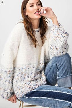 Easel ANTHROPOLOGIE Shine Bright Multi Color Sweater Blue/Wh