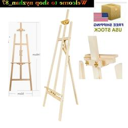 US 145cm Durable Spruce Wood Wood Easel Wood Color outdoors