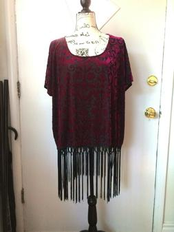 Easel Women's Fringe Top Beautiful All Over Design, Large /