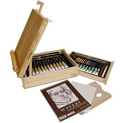 US Art Supply 62-Piece Wood Box Easel Painting Set- Box Ease