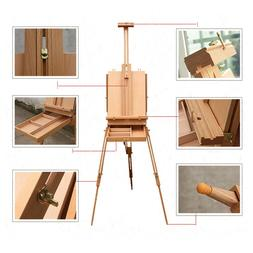 wooden oil painting easel sketch box portable